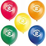 "12"" Latex Happy 2nd Birthday Balloons, Assorted 8ct"