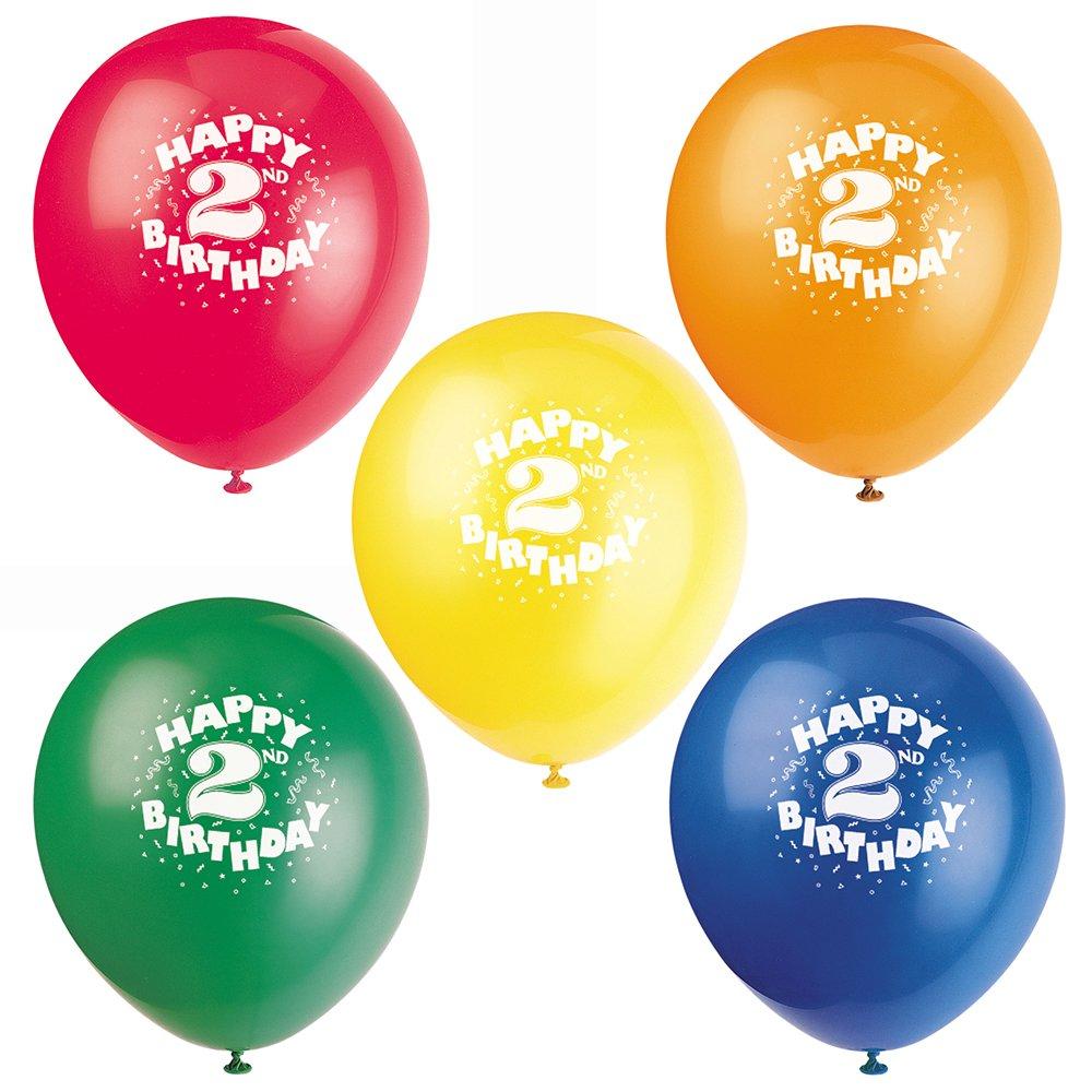 12'' Latex Happy 2nd Birthday Balloons, Assorted 8ct