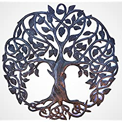 it's cactus - metal art haiti New Design Celtic Inspired Tree of Life, Metal Wall Art, Home Decor Fair trade from Haiti, Infinity knots 23 inches round