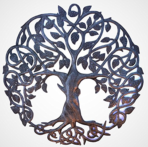 Decor Home Celtic (it's cactus - metal art haiti New Design Celtic Inspired Tree of Life, Metal Wall Art, Home Decor Fair trade from Haiti, Infinity knots 23 inches round)