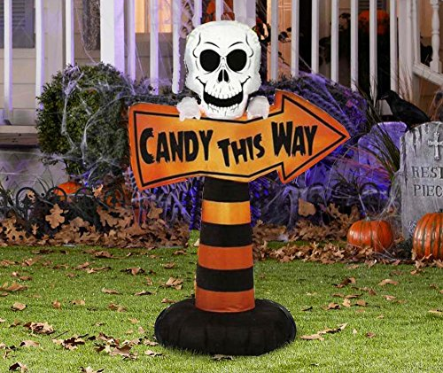 ghi Halloween Inflatable 3.5' Candy This Way Skull Sign By Gemmy