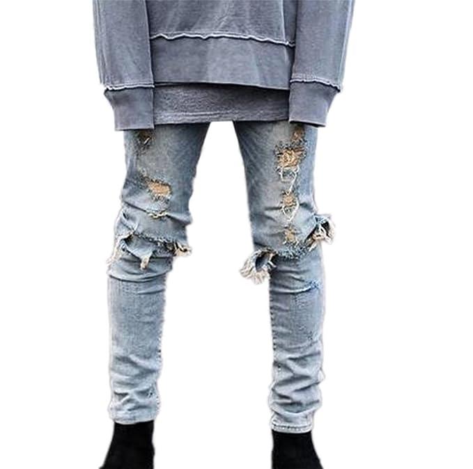Huateng Mode Loisirs Homme Jeans Pantalon Denim Classique avec Trou Casual  Chaud Nouveau  Amazon.fr  Vêtements et accessoires e9182c924d5a