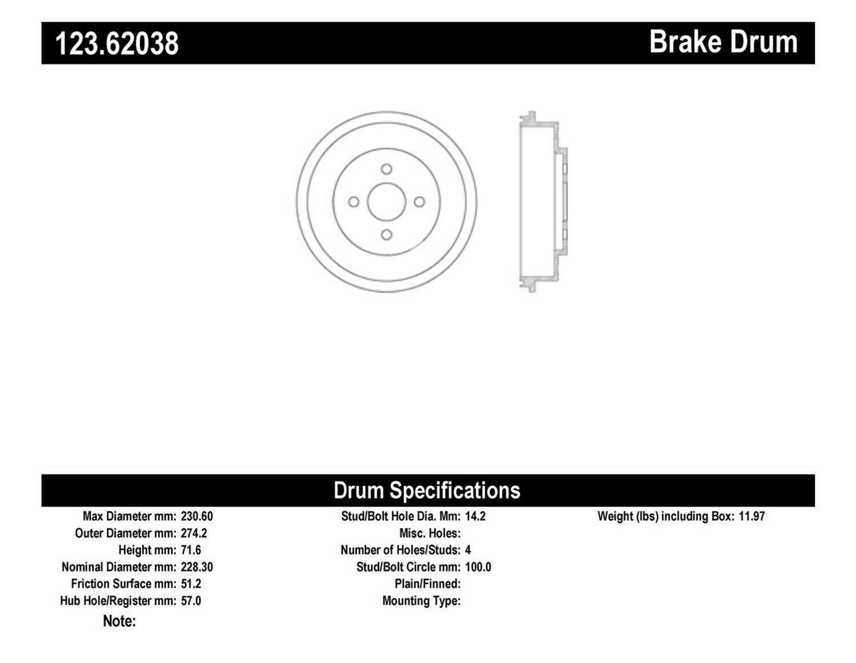 Centric 123.62038 Brake Drum