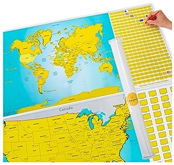 Amazoncom Scratch Off World And US Travel Tracker Map Set See - Amazon us map