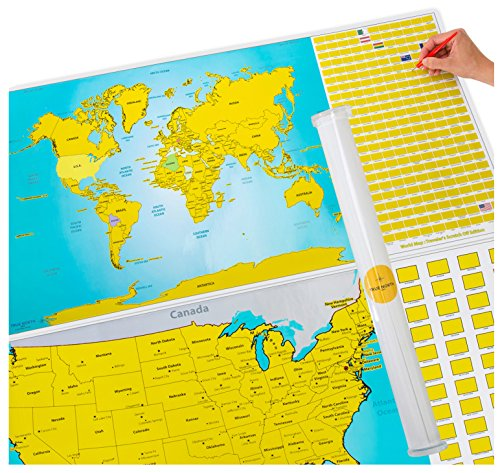 Scratch Off World and US Travel Tracker Map Set - See The World, Make Memories And Track Places You Visit!