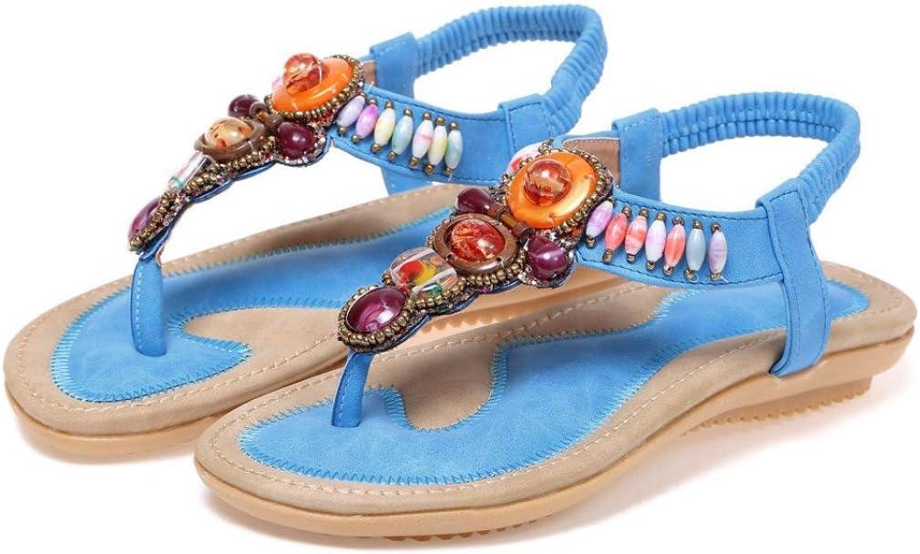 Women Bohemia Sandals WuyiMC Summer Summer Sandals Leather Flat Peep-Toe Shoes Ethnic Sandal Dress Shoes