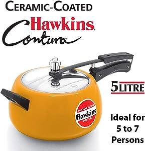 Hawkins Contura Pressure Cooker, 5 L, Mustard Yellow