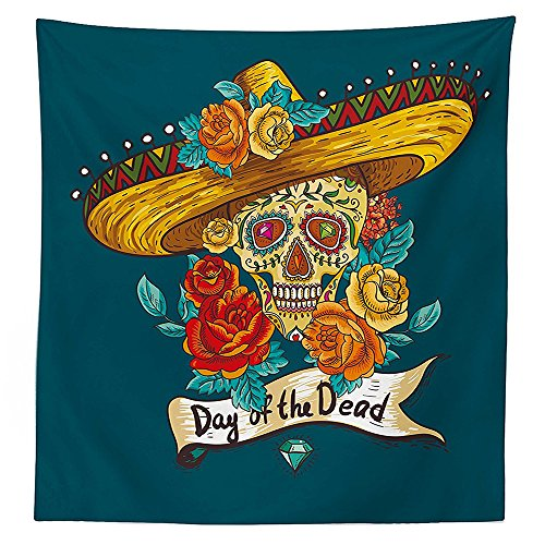 Day Of The Dead Decor Tablecloth Mexican Festive Hat Skull with Roses Print Dining Room Kitchen Rectangular Table Cover Petrol Blue Turquoise Orange Marigold