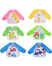 Toyvian 6pcs Waterproof Painting Smocks Aprons with Long Sleeve for Kids Children