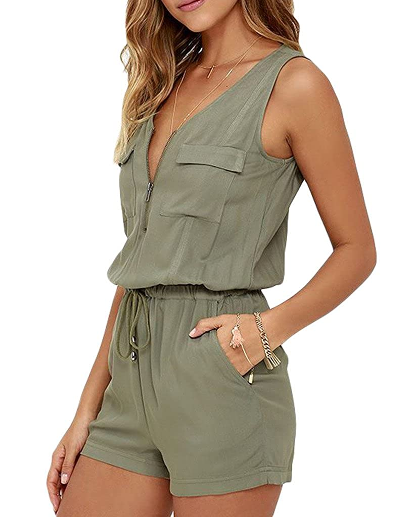 Xiang Ru Women Cut Out Back Solid Sleeveless Pocket Jumpsuit Green XRU17614A283A
