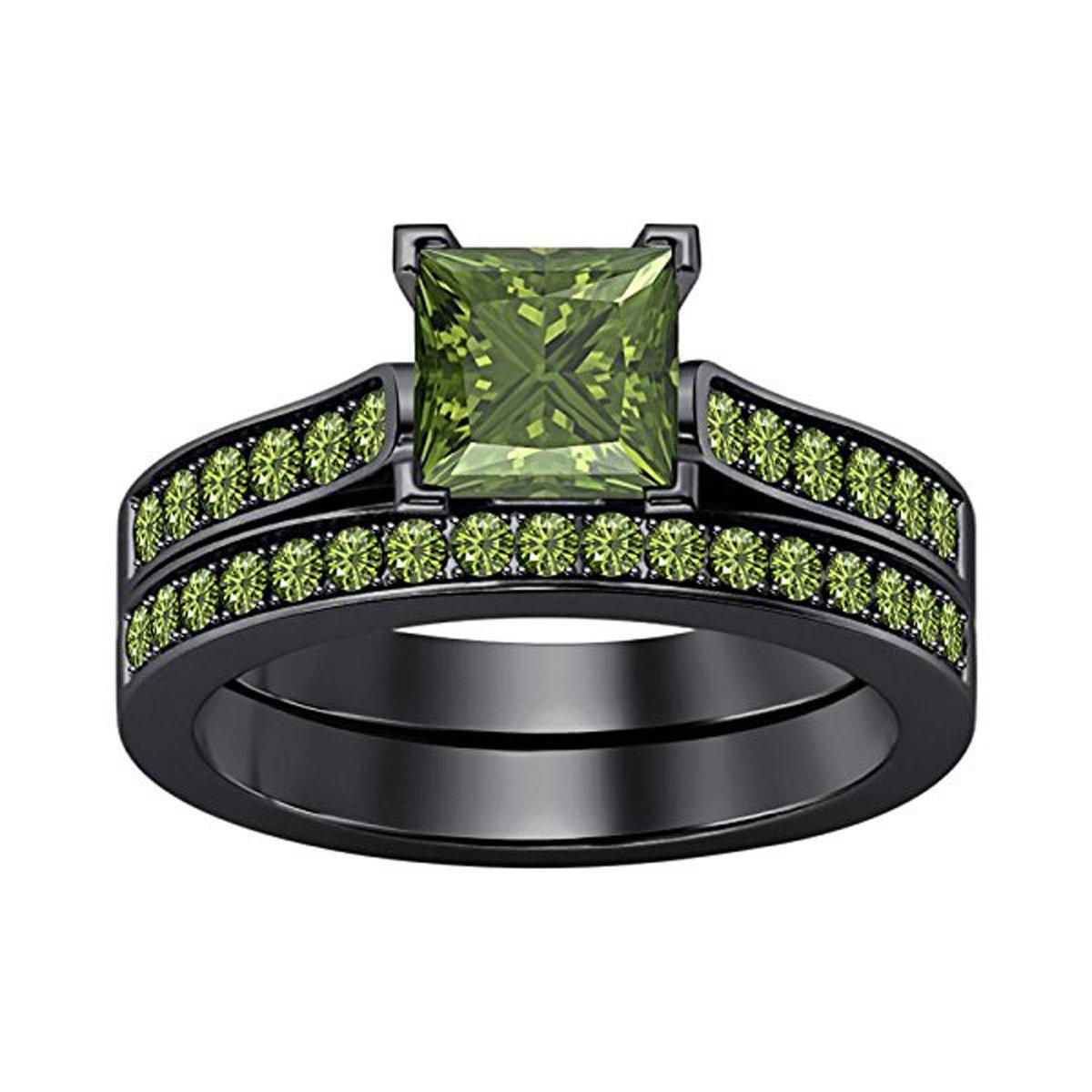 Women's Jewelry 2.75 CT Princess Cut Created Peridot Wedding Band Engagement Bridal Ring Set 14k Gold Plated Alloy Sizes 4-11