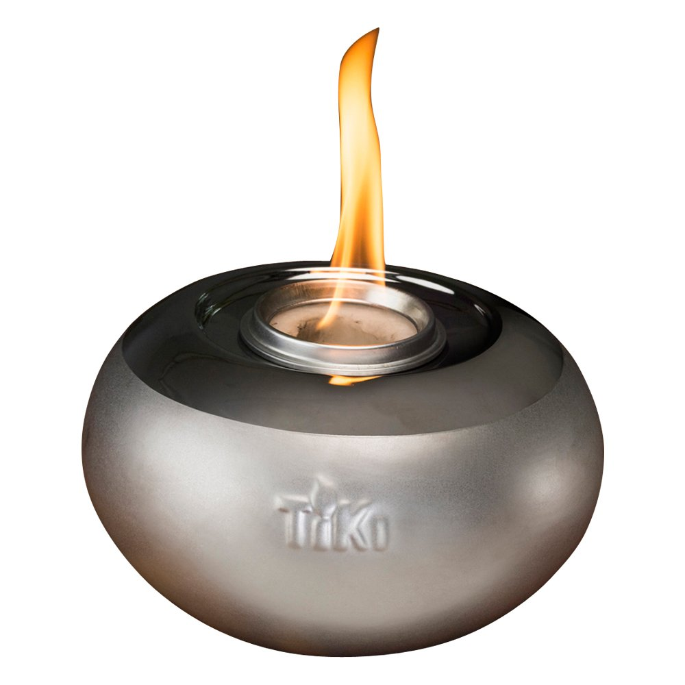Tiki Brand 6'' Clean Burn Ceramic Pearl of The Sea Table Torch Firepiece, Silver