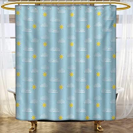 Lacencn Yellow And BlueShower Curtains FabricCute Clouds Sun Pattern With Vertical Stripes