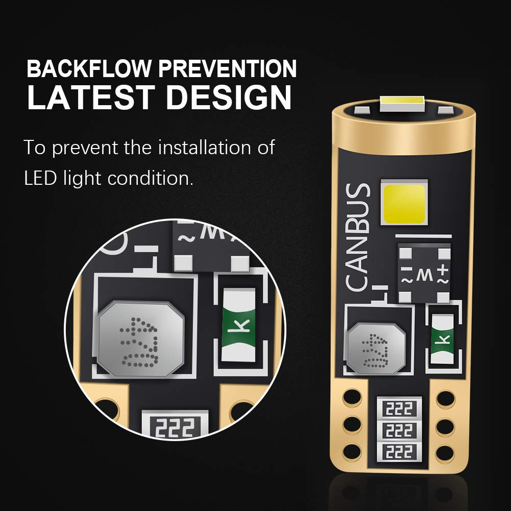LncBoc Lampadina T10 W5W LED 168 194 3SMD 3030 Bianco 12V 6000K Per Luci Targa LED Auto Lampadine Luci LED Posizione Cortesia Interne Targa Lampade confezione da 2