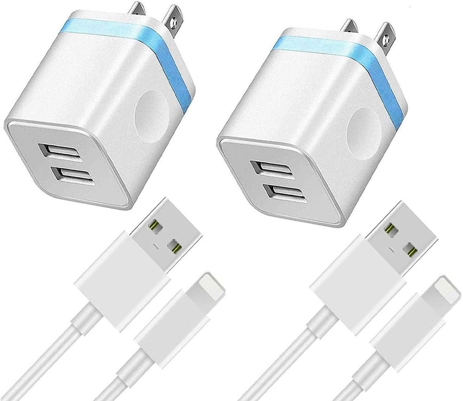iPhone Charger (4-Pack) Apple MFi Certified 6FT Lightning Cable and Dual USB Wall Charger Compatible with iPhone 12 11 Xs Max XR X 8 7 6S 6 Plus SE2 5S iPad, Travel Power Adapter Wall Charger