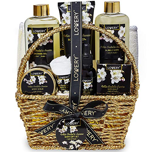Bath and Body Gift Basket for Women and Men - Orchid and Jasmine Home Spa Set With Body Scrubs, Lotions, Oils, Gels and More - 9 Piece Set