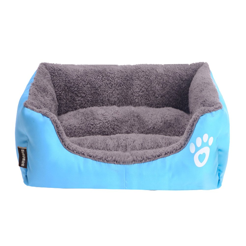 Multi-Color Pet Dog Bed Soft PP Cotton Padded Puppy Cat Sofa Bed Warm Pet Cushion Rectangle Cat Dog Mat Waterproof Pets House-blue