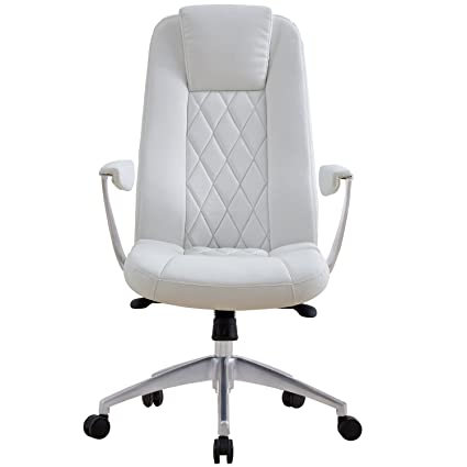Amazon Com Lscing Snow White Leather Executive Office Chair Plush