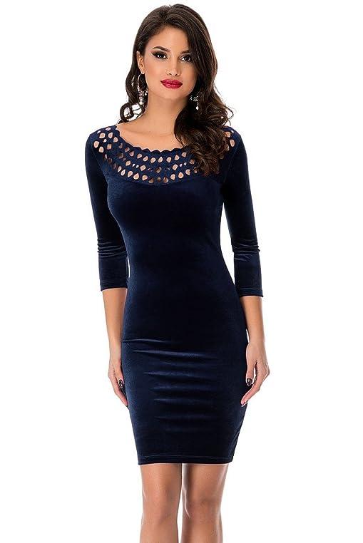Damen Marineblau Samt Lattice Cut Out 3/4 Ärmel Figurbetontes Kleid  Abendkleid Club Wear Party