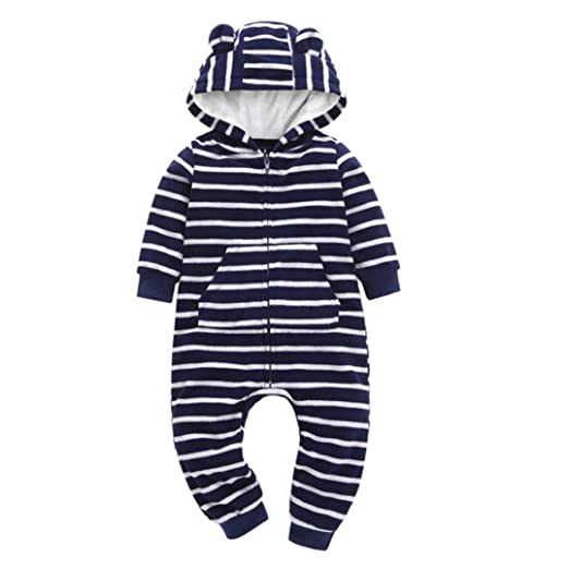 9ffac1cd0292a Amazon.com: DIGOOD Toddler Infant Baby Boys Girls Ears Hooded Pocket Rompers,  Kids Stripes Jumpsuit Autumn Winter Clothing Set: Clothing