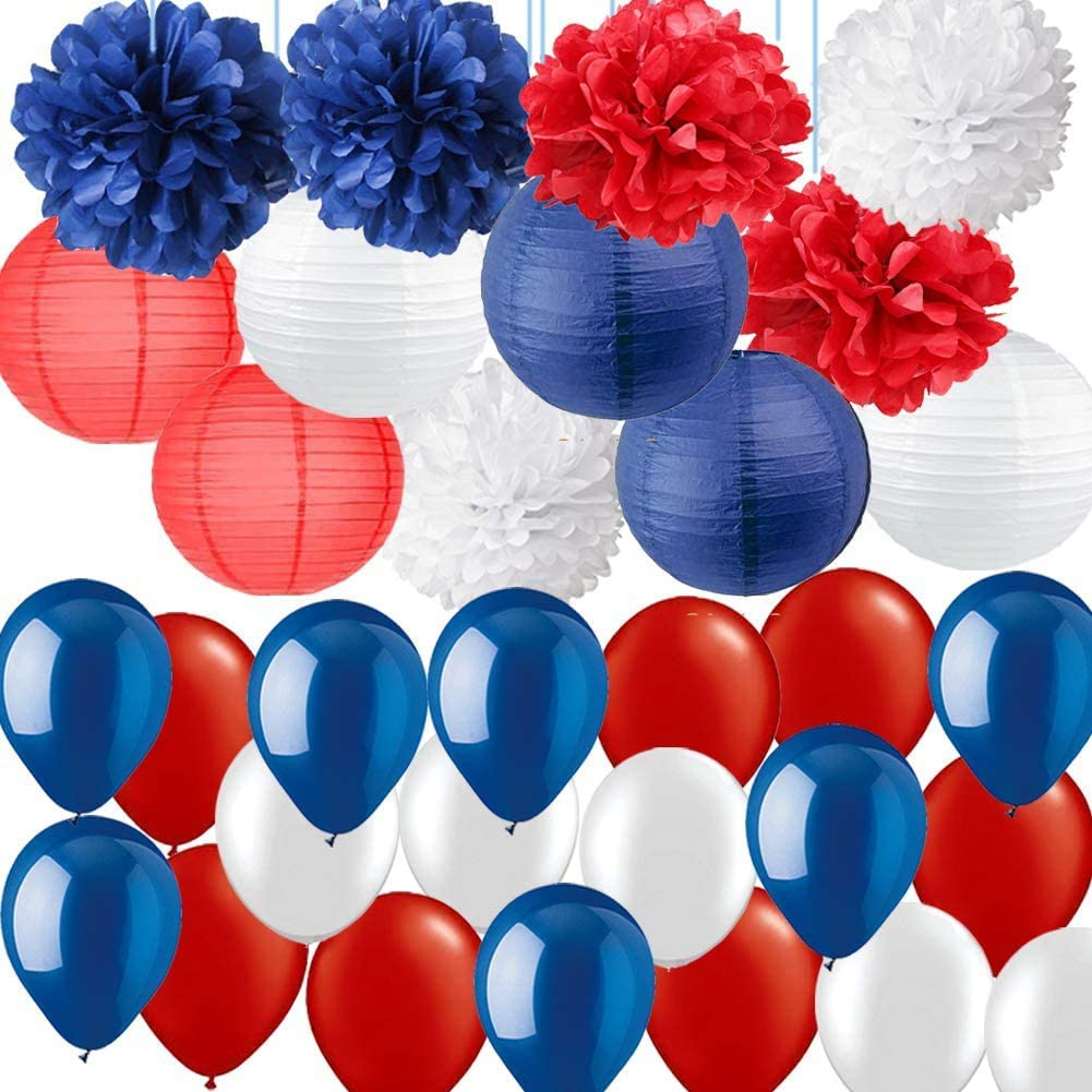 Nautical Party Decorations-Navy Blue Red White Tissue Pom Poms Paper Lanterns with Latex Balloons for 4th of July Decor Patriotic Party Fourth of July Sailor Party Nautical Baby Shower Birthday Party