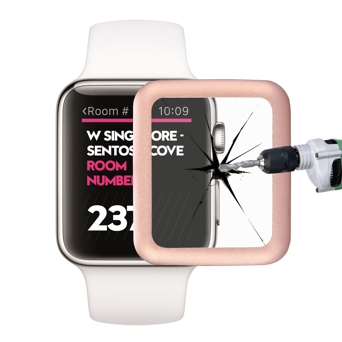 rose border safe glass for Apple watch