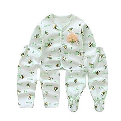 Winbetter 2/3/5PCS Baby Layette Sets, Newborn Baby Cotton Long Sleeve Tops+Pants+Hats+Baby Bib Clothes Set