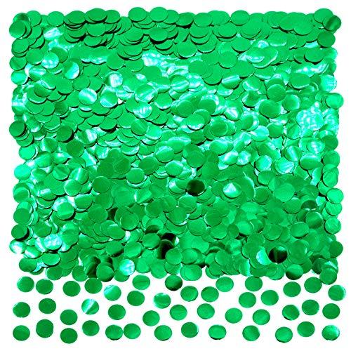 Green Foil Metallic Round Table Confetti Decor - Summer Tropical Jungle Safari Baby Shower Birthday Party Mylar Scatter Confetti Decorations, 50g