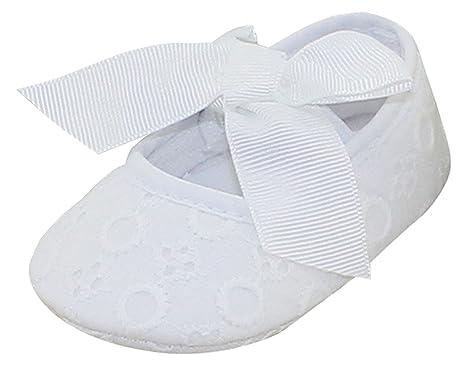 16d8df2d32a0d Chaussures Chaussons Bébé Princesse Baptême avec Semelles Souples  Antidérapant Premier Pas Fille avec Nœ