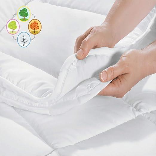 4-Jahreszeiten Bettdecke 135x200 Microfaser Steppbett Ganzjahr Steppdecke Weiß