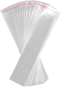 IMIKEYA 200 Pcs Clear Cello Bags OPP Self Sealing Bags 1.96 x 10.62 Inch Long Cellophane Bags for Cookies Bakery Christmas Party