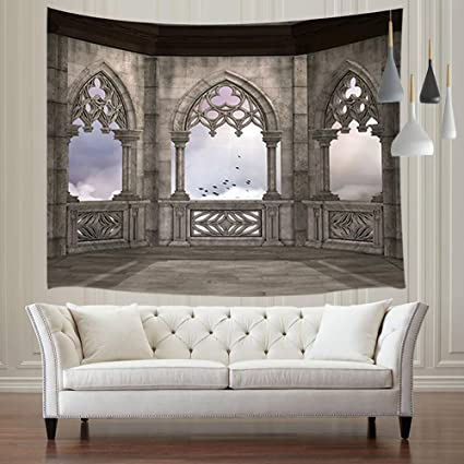 Amazon.com: JAWO Gothic Architecture Tapestries, Medieval Stone ...