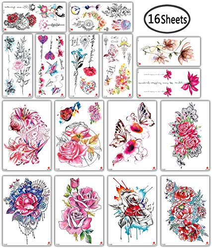 DaLin Sexy Floral Temporary Tattoos for Women Men Flowers Collection (Colorful Flowers Collection 3)]()