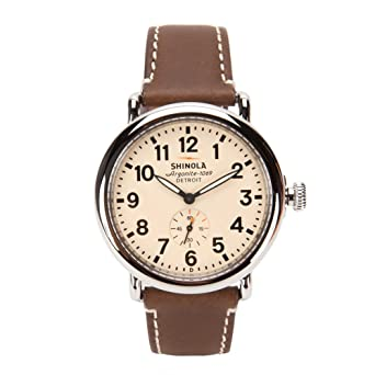 a15422c46 Image Unavailable. Image not available for. Color: Shinola Runwell 41mm  Cream Dial/Dark Brown Leather ...