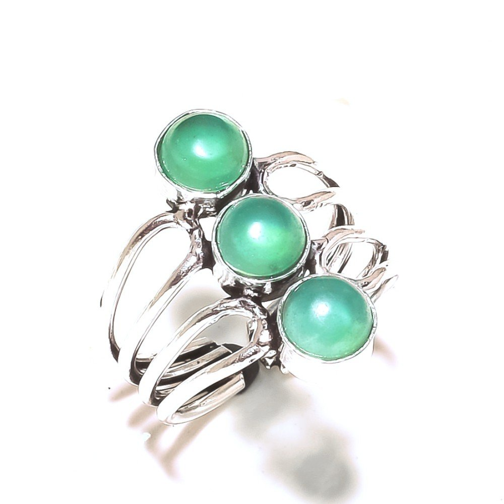 Green Onyx Handmade Jewellry 925 Sterling Silver Plated 6 Grams Ring Size 8.5 US Sizable Gift Jewelry