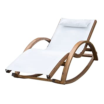 Outsunny Outdoor Garden Patio Pool Rocking Chair Sun Lounger Bed Recliner  Rocker Wood Frame Textilene Fabric