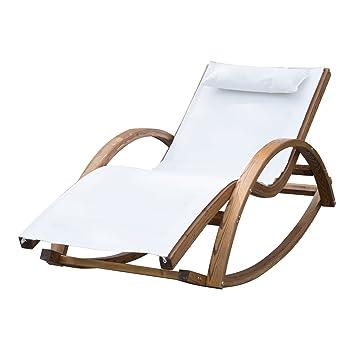 Blanc Fauteuil À Bain Transat Chaise Charge Chair Berçante Outsunny Rocking 100kg En Bois Bascule De Soleil Longue c3jS4LqA5R