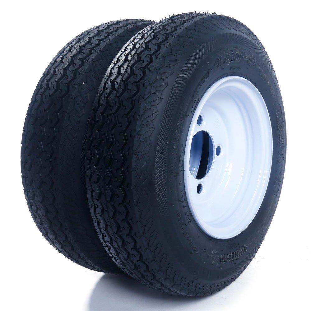 Set of 2 Trailer Tires & Rims 480-8 4.80-8 4.80x8 8' B 4 Lug/4' Hole Bolt Wheel White Spoke Roadstar P819