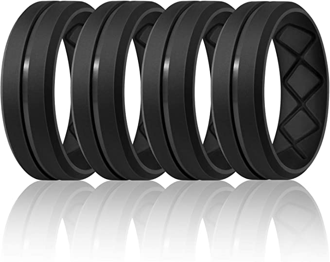 Silicone Rings Mens with Half Sizes 7 Rings // 4 Rings // 1 Ring Rubber Wedding Bands 10mm Wide-2.5mm Thick Egnaro Inner Arc Ergonomic Breathable Design
