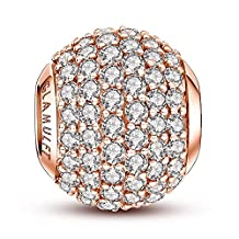 Glamulet 925 Sterling Sliver Charms Beads Birthstone Paved Crystal Fits Pandora Bracelet, Rose Gold Ideal Jewelry Gifts for Birthday, Anniversary, for Women, Mom, Wife, Girls