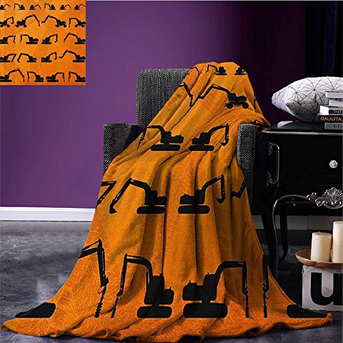 Construction throw blanket Excavator Black Silhouettes Tire Traces Track Machinery Industry Technology miracle blanket Orange Black size:51