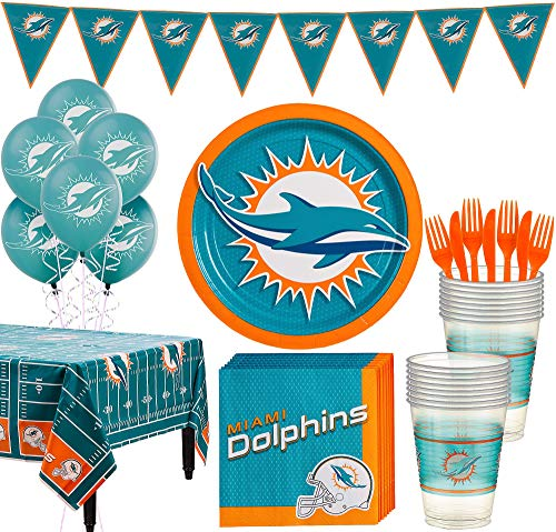Miami Dolphins Party Decorations (Party City Miami Dolphins Super Party Supplies for 18 Guests, Include Plates, Napkins, Table Cover, and)