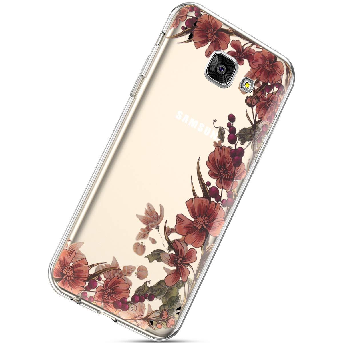 Felfy Funda Compatible con Galaxy A5 2016 Carcasa Silicona,Compatible con Funda Galaxy A5 2016 Transparente Brillante Flor Mariposa Pintado Patr/ón Anti-Ara/ñazos Ultra Fina TPU Case