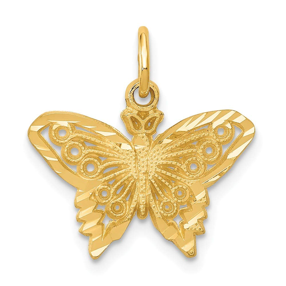 14K Yellow Gold Butterfly Charm