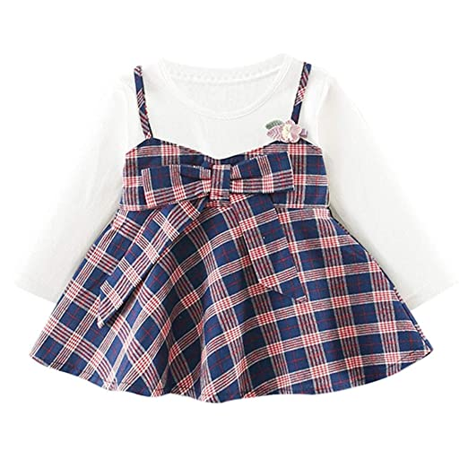 86417c039e2 Juner Baby Girls Long Sleeve Bowknot Plaid Overalls Dress Adorable Cotton  A-line Skirt Kids