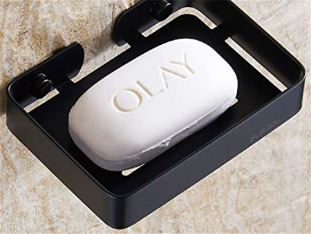 Gvdtjfk Contenedor de Caja de jabón Jabonera de baño con desagüe Inodoro Caja de jabón Negro