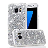 For Samsung Galaxy S6 Glitter Case, Gold Hexagonal Star Paillette Pattern Sparkle Bling Bling Ultra Thin Soft TPU Cover, Shiny Silicone Bumper Protective Back Cases Cover-Silver