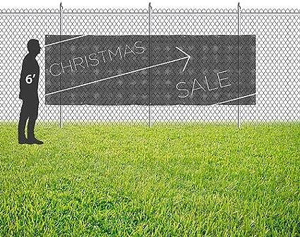Basic Black Wind-Resistant Outdoor Mesh Vinyl Banner 12x4 Christmas Sale CGSignLab
