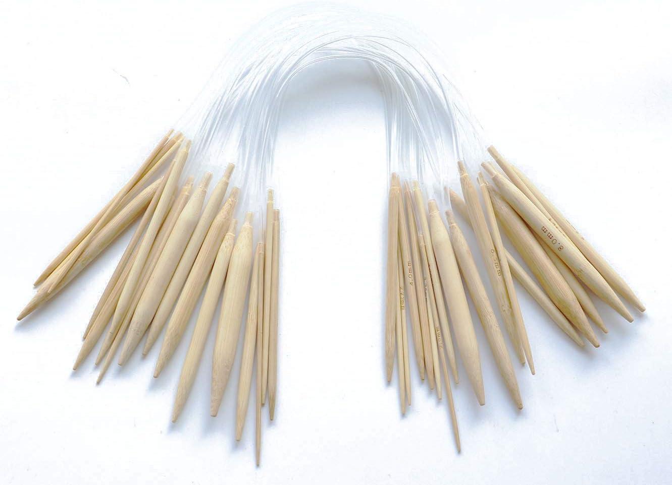 18 Pares Vs Tamaños Agujas Circulares De Bambu cable 40 cm