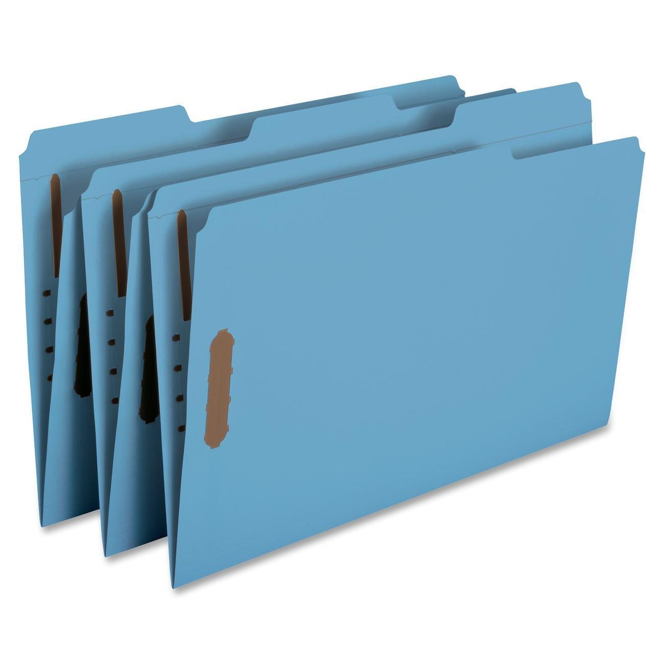 Smead Fastener File Folder, 2 Fasteners, Reinforced 1/3-Cut Tab, Legal Size, Blue, 50 per Box (17040)
